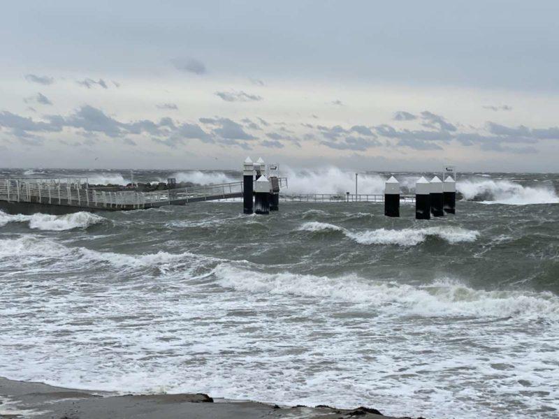 Anlegestelle Schilksee Sturm Tristan Februar 2021