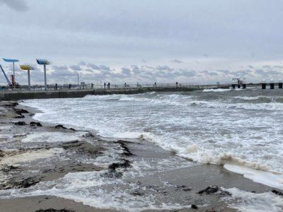 Olympiazentrum Schilksee Badestrand Hochwasser Winter