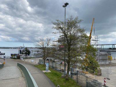 Baustelle Kieler Förde Kreuzfahrtterminal Ostseekai