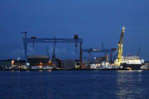 Kieler Förde German Naval Yards Kiel Werft am Abend