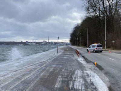 Sperrung Kiellinie Hochwasser Sturm Tristan Februar 2021