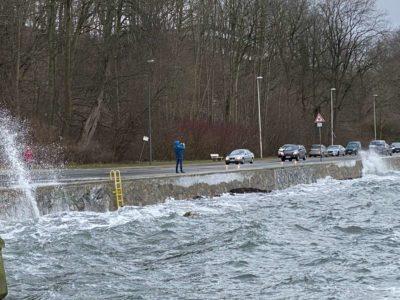 Hochwasser Kiellinie Kiel am 07.02.2021