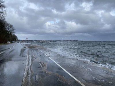 Überschwemmungen Kiellinie Kiel Hochwasser Februar 2021