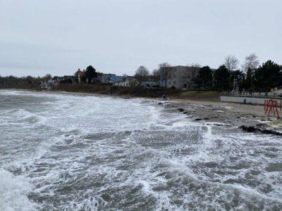 Schilksee Badestrand Hochwasser Februar 2021