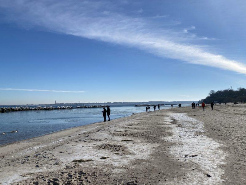 Schilksee Strand Winter Sonnenschein