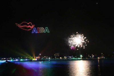 Drohnenshow Kieler Woche Feuerwerk 2021 AIDA Kussmund