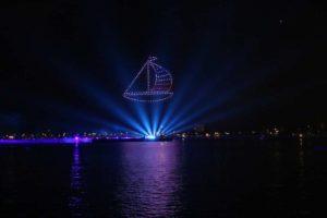 Drohnenshow Kieler Woche Feuerwerk 2021 Segelschiff