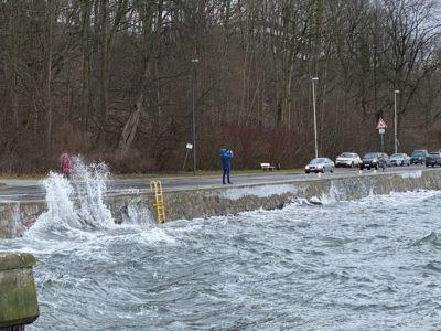 Hochwasser Kiellinie Kiel Düsternbrook Februar 2021