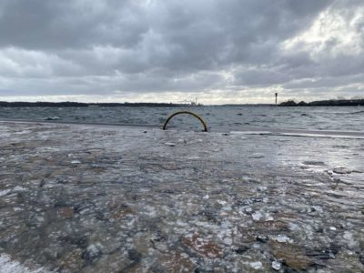 Tiessenkai Holtenau Hochwasser Sturm Tristan Februar 2021