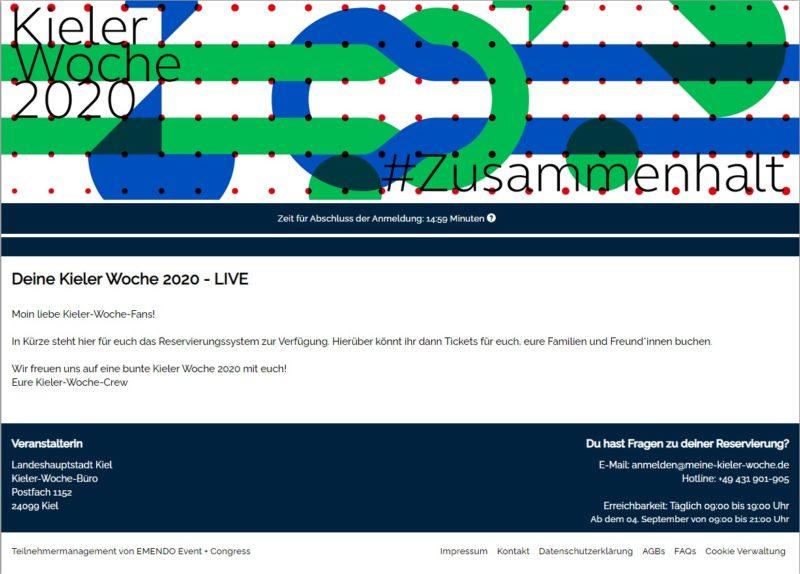 Website Meine Kieler Woche 2020 Reservierungssystem