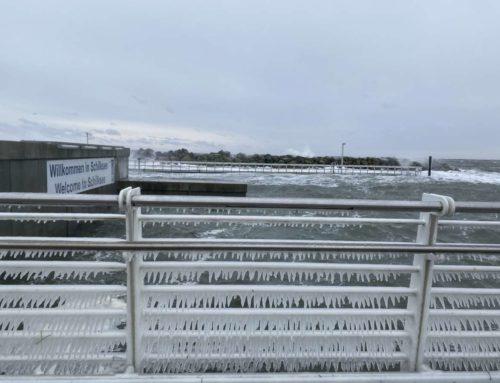 Wintersturm Tristan 2021: Falckensteiner Strand & Olympiazentrum Schilksee