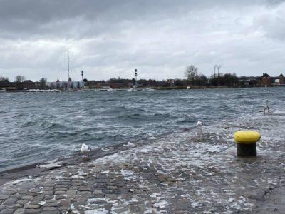 Tiessenkai Kiel-Holtenau Hochwasser & Sturm