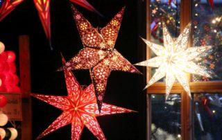 Weihnachtssterne auf dem Weihnachtsmarkt Kiel Asmus-Bremer-Platz