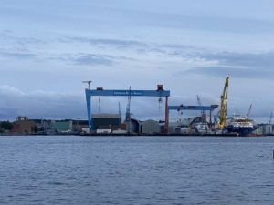 German Naval Yards Werft Kiel am Abend