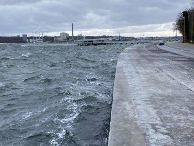 Winter Hochwasser & Eis Kiellinie Kiel
